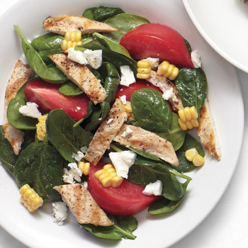 Spinach Salad with Chicken, Corn, Tomatoes, and Feta