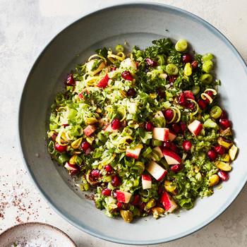 broccoli herb and pistachio grain salad with pomegranate