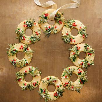 meyer-lemon shortbread wreath cookies