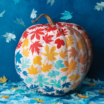 Colorful Leaf Decoupage Pumpkins