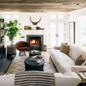 More Home Decor. Neutral Family Room With Velvet Chair And Antlers Hanging  Above Fireplace