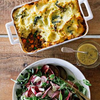 colcannon shepherds pie watercress radicchio and radish salad