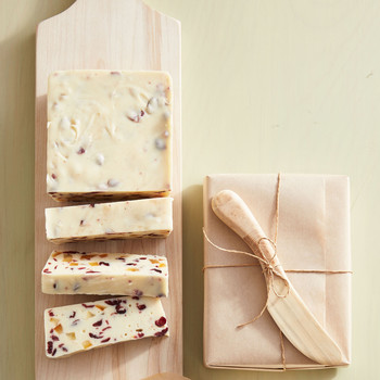 white chocolate citrus fudge with cranberries and candied citrus