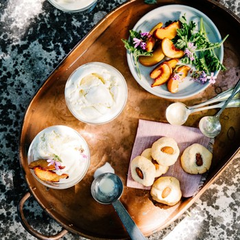 Rose Geranium and Cardamom Ice Cream with Roasted Peaches and Almond Cookies