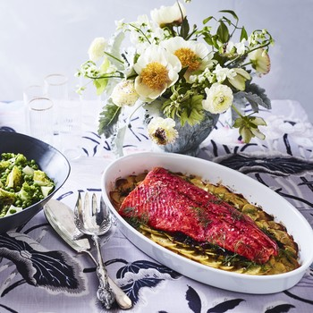beet dill salmon with pea salad