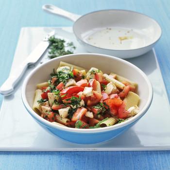 Menu for Rigatoni with Tomatoes and Mozzarella