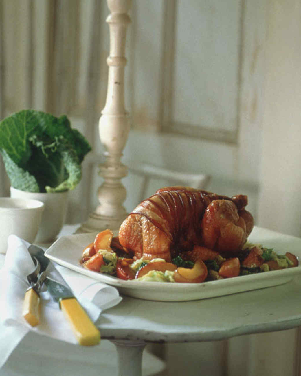 Guinea Hen with Bacon, Cabbage, and Apples