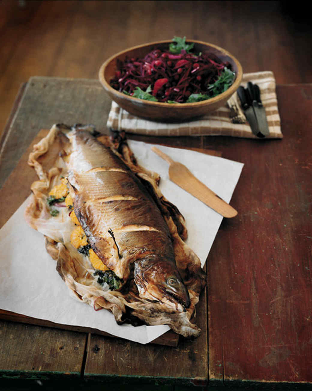 Whole Roasted Salmon with Orange Butter Glaze