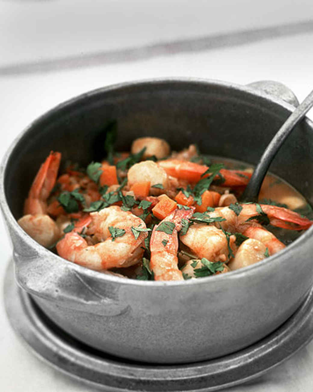 Shrimp and Scallop Stew with Israeli Couscous Pilaf