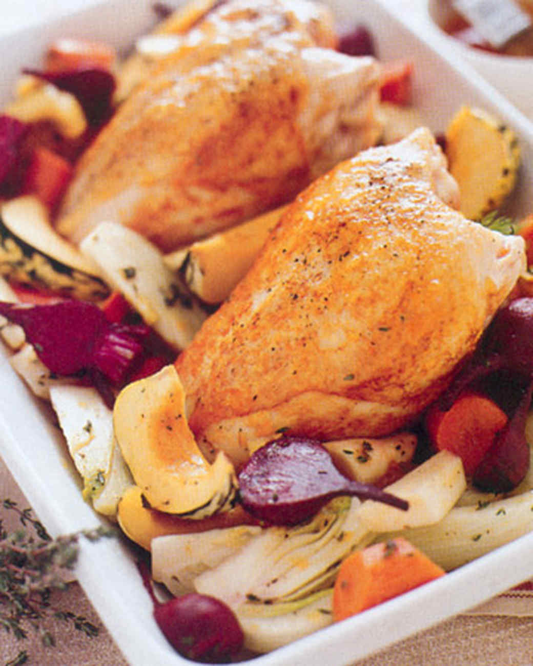 Apricot Roast Chicken with Vegetables