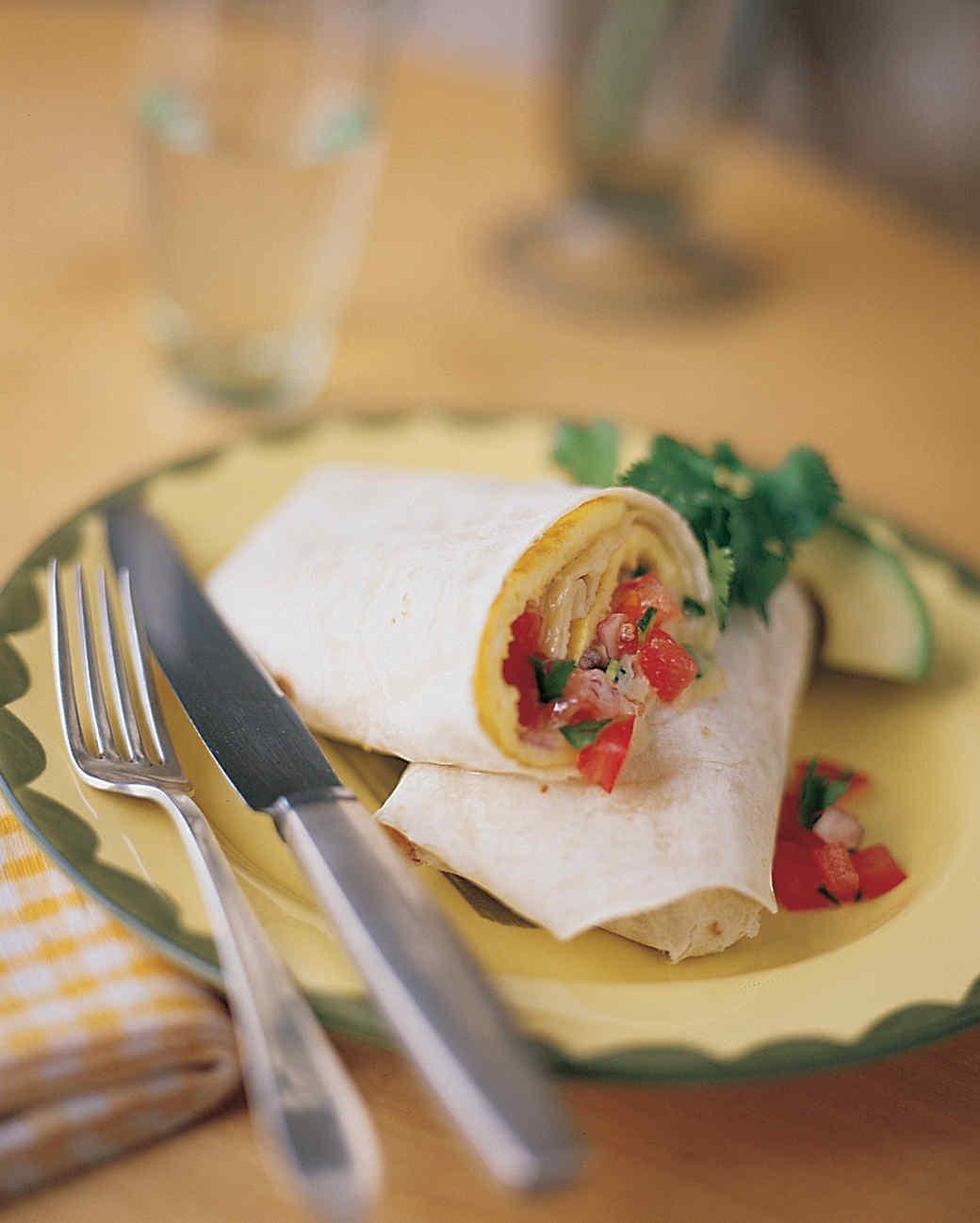 Fresh Tomato Salsa and Jack Cheese Omelet Burrito