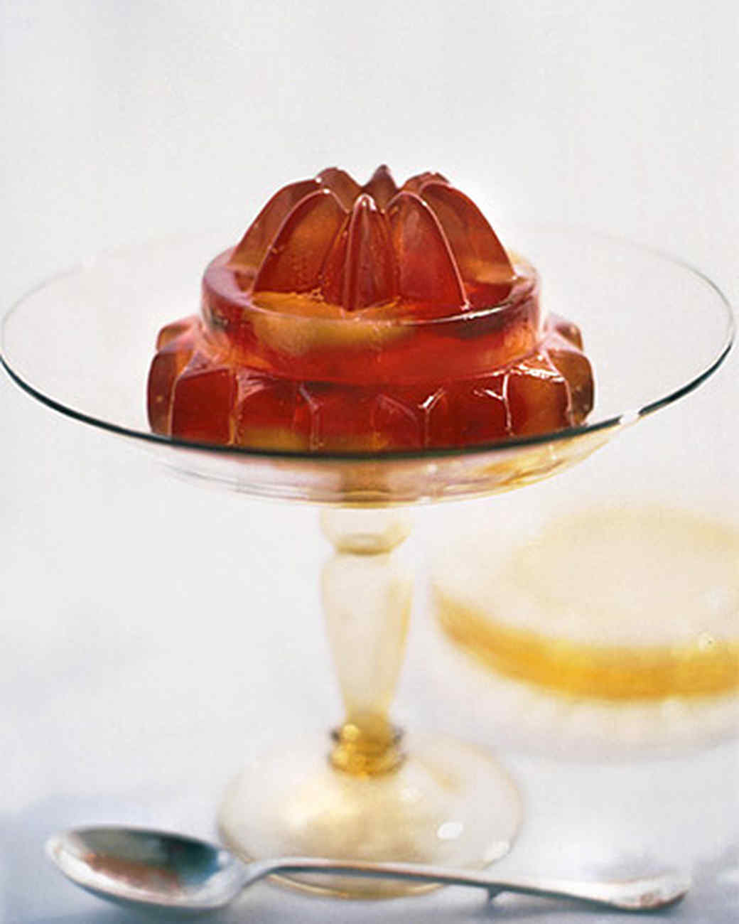Champagne Gelatin with Peaches and Plums