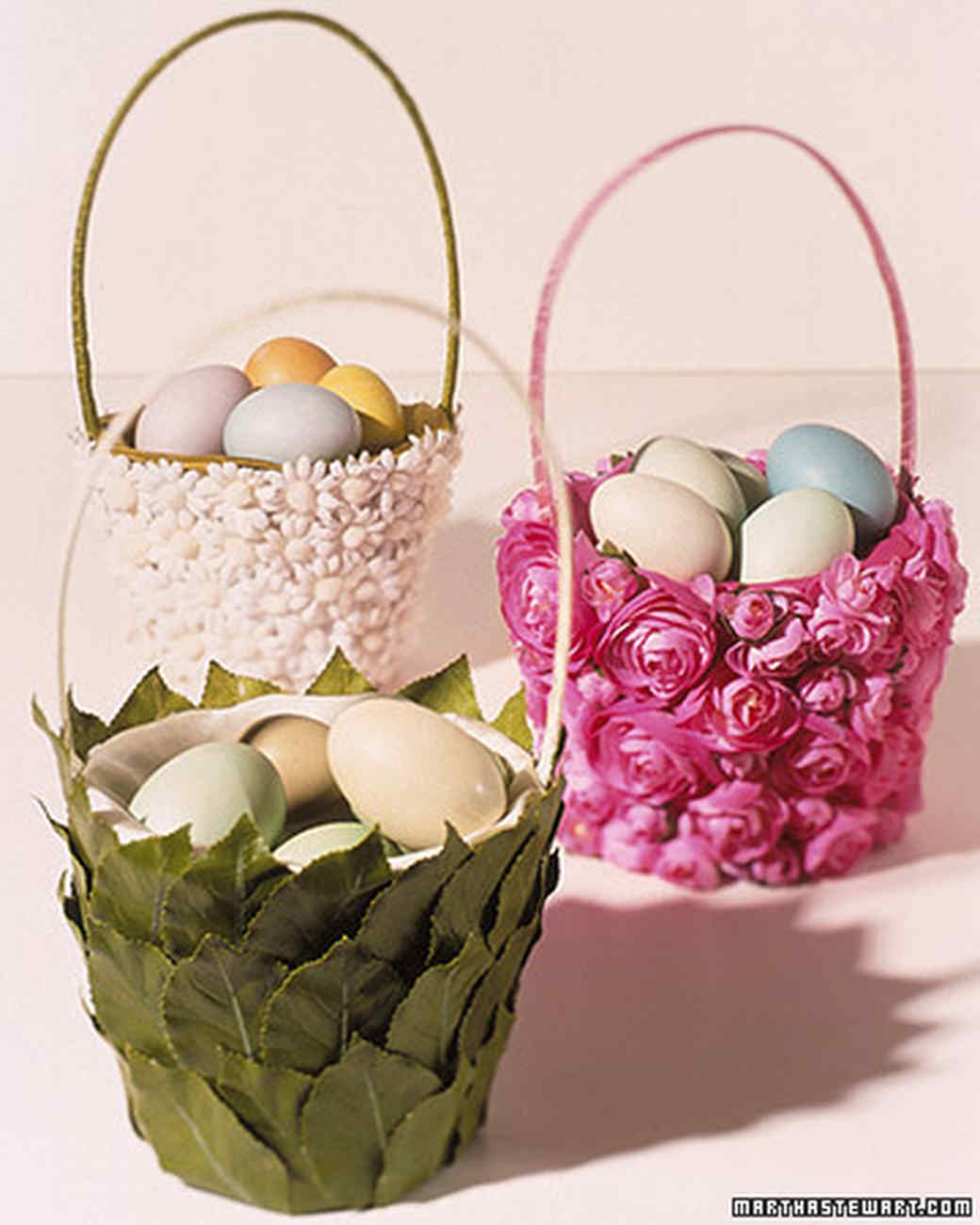 Flowered easter baskets martha stewart flowered easter baskets negle