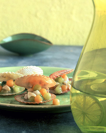 Bay-Scallop Ceviche with Melon Pearls