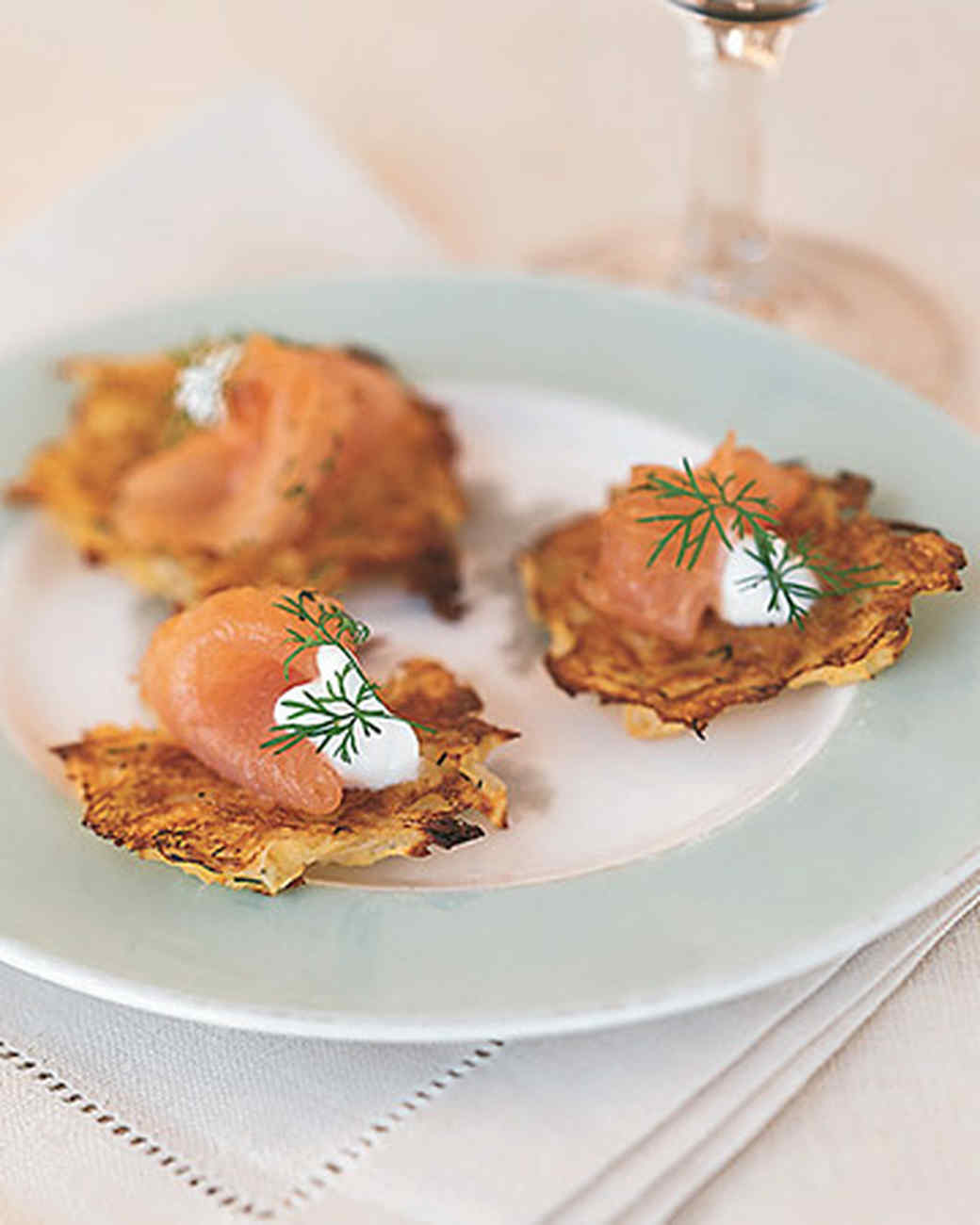 Seafood appetizer recipes martha stewart potato pancakes with gravlax and dill forumfinder Gallery
