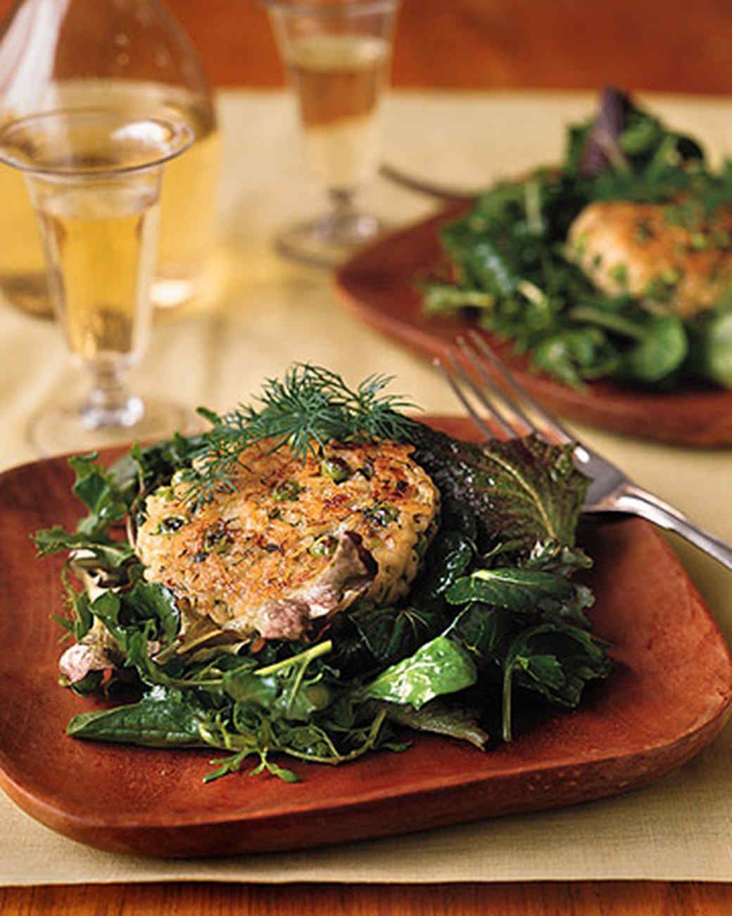 Risotto Patties over Greens