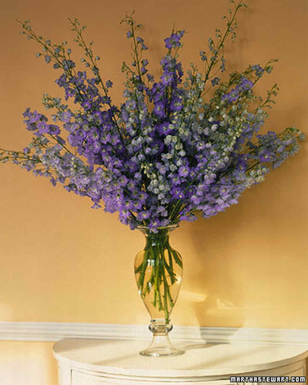 Purple Delphinium Centerpiece : Purple flower arrangements martha stewart