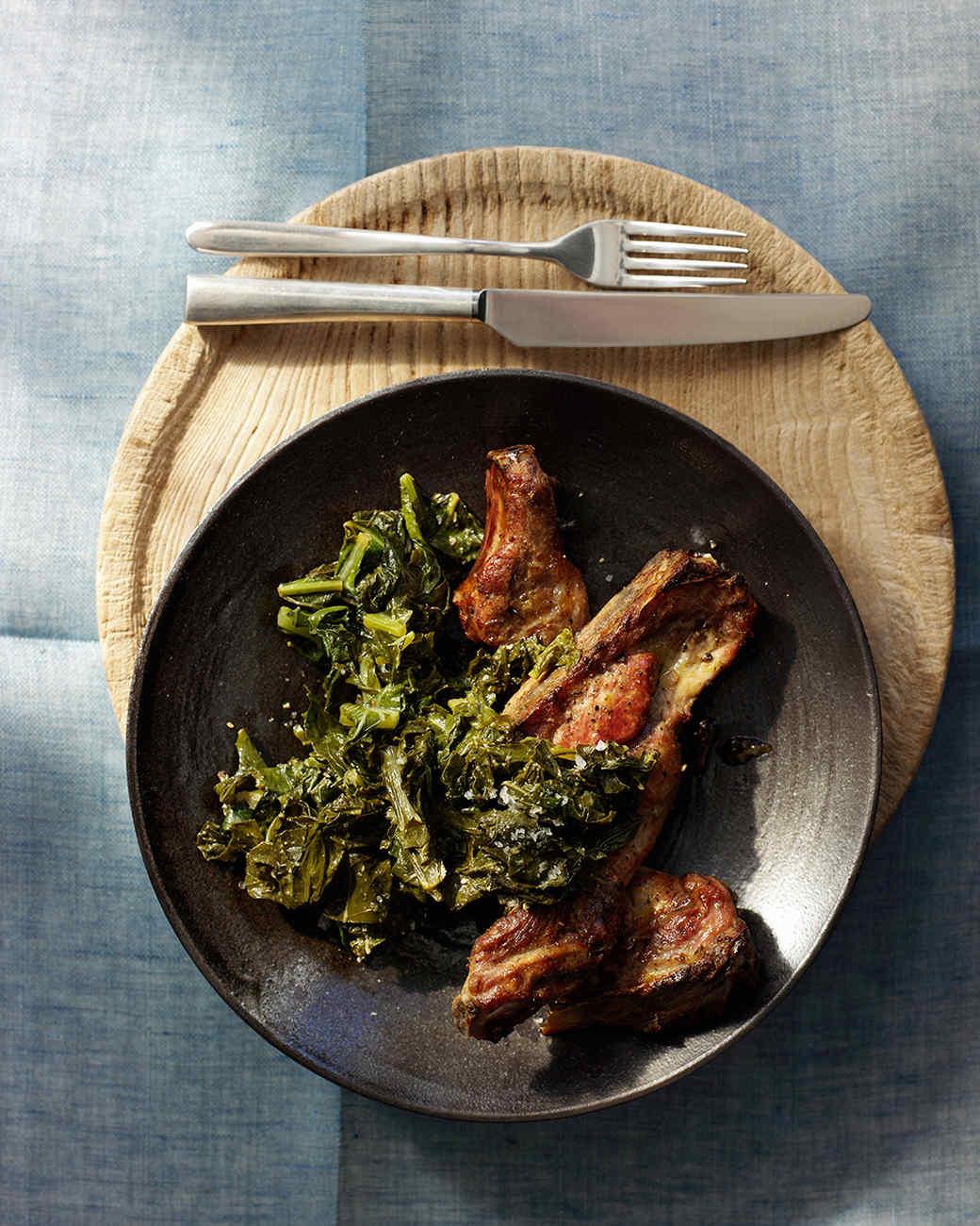 Garlicky Pork Ribs with Greens