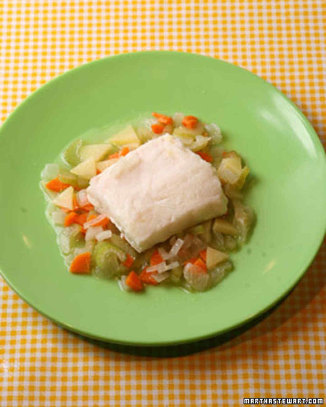 Poached Halibut with Vegetables a la Paysanne