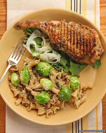 Pork Chops with Dandelion Greens