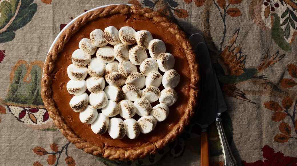 sweet-potato custard pie topped with marshmallows