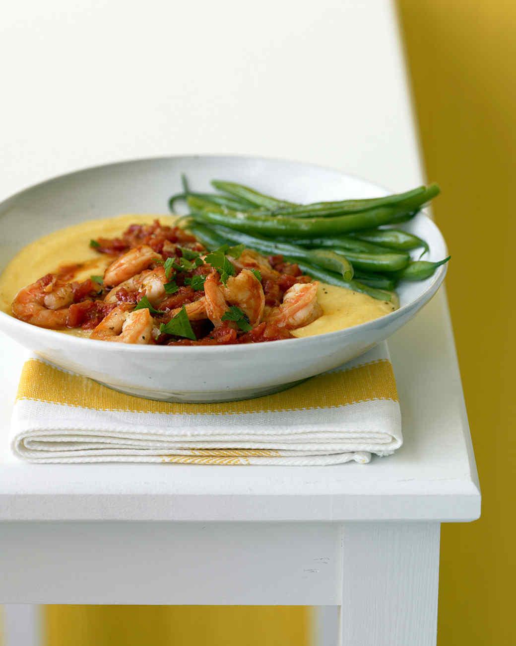 Shrimp and Tomatoes over Soft Polenta