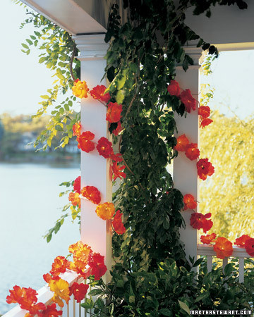 Silk-Flower Party Lights & Outdoor Party Decorations | Martha Stewart