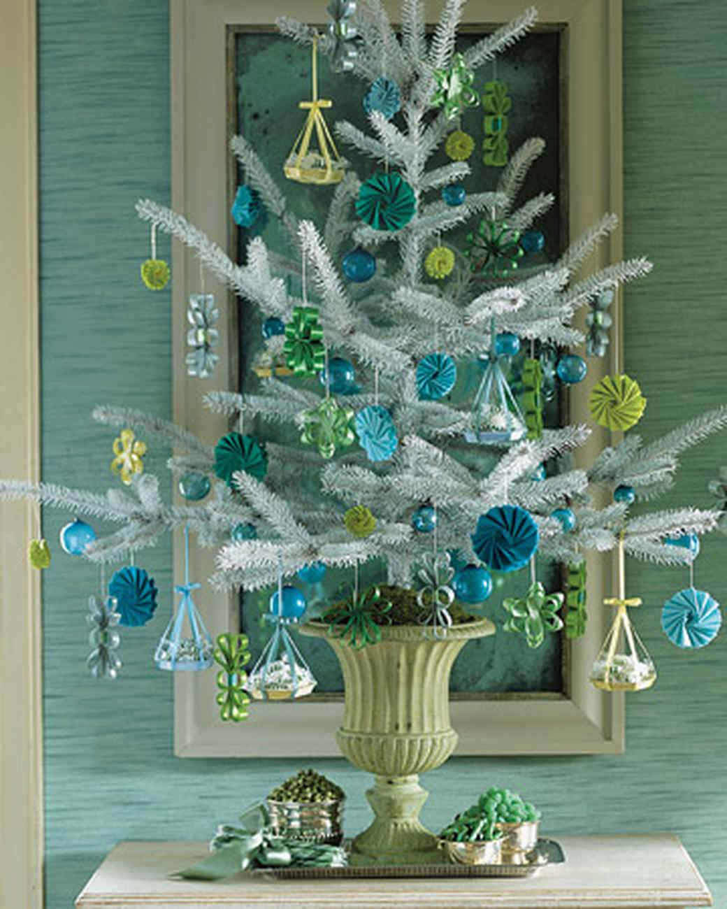 28 creative christmas tree decorating ideas martha stewart - Frosty Blue Christmas Decorations