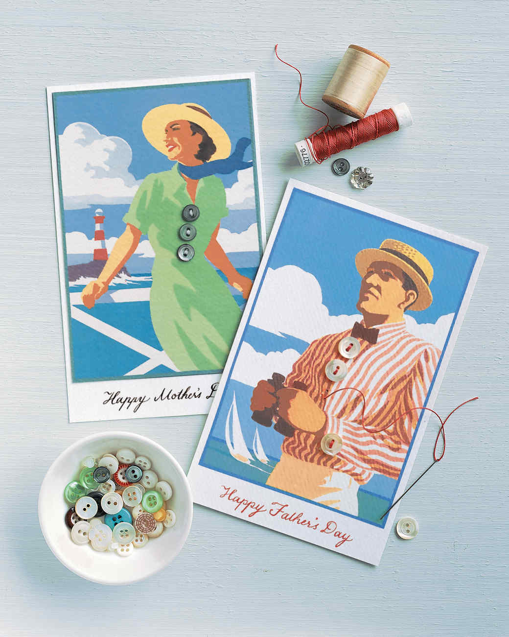 Mother's and Father's Day Button Cards