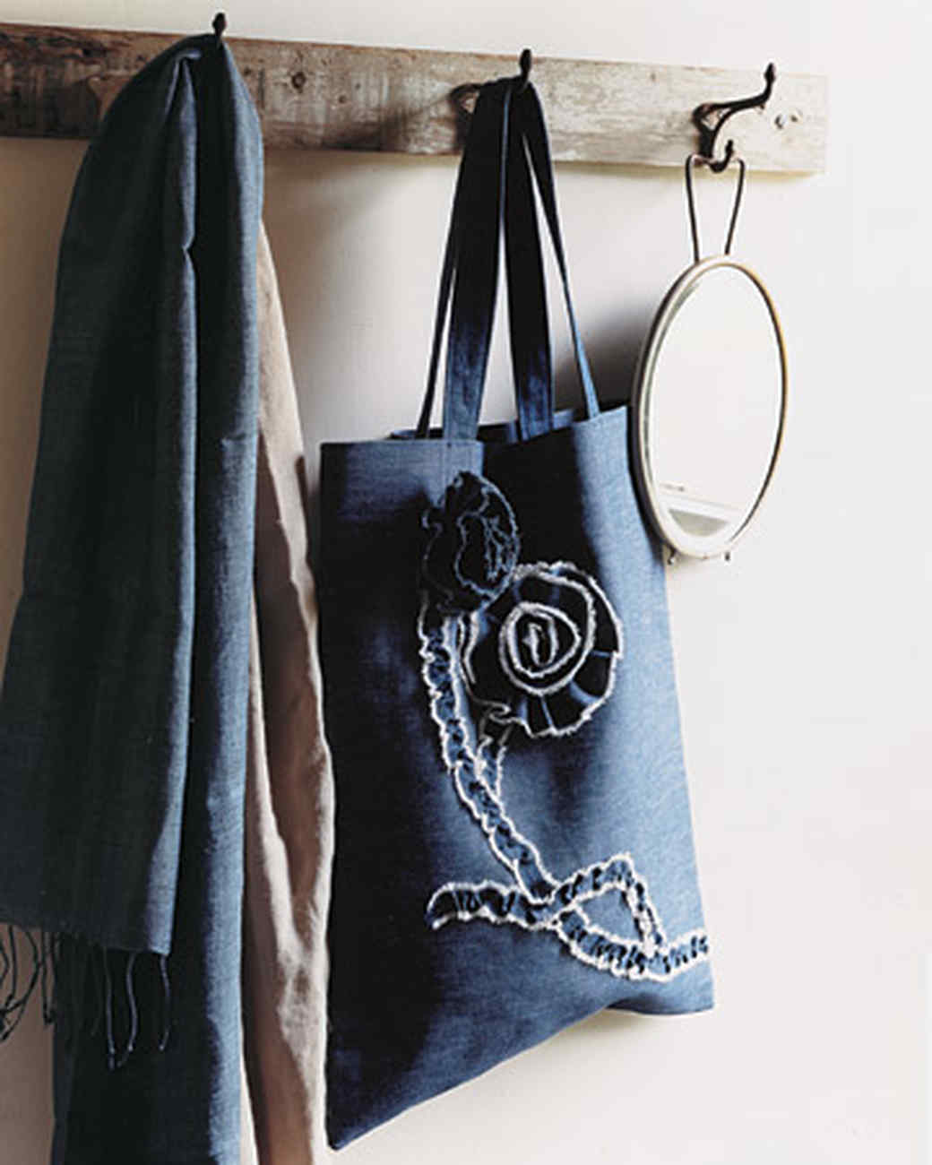 Easy Denim Tote with Floral Brooches