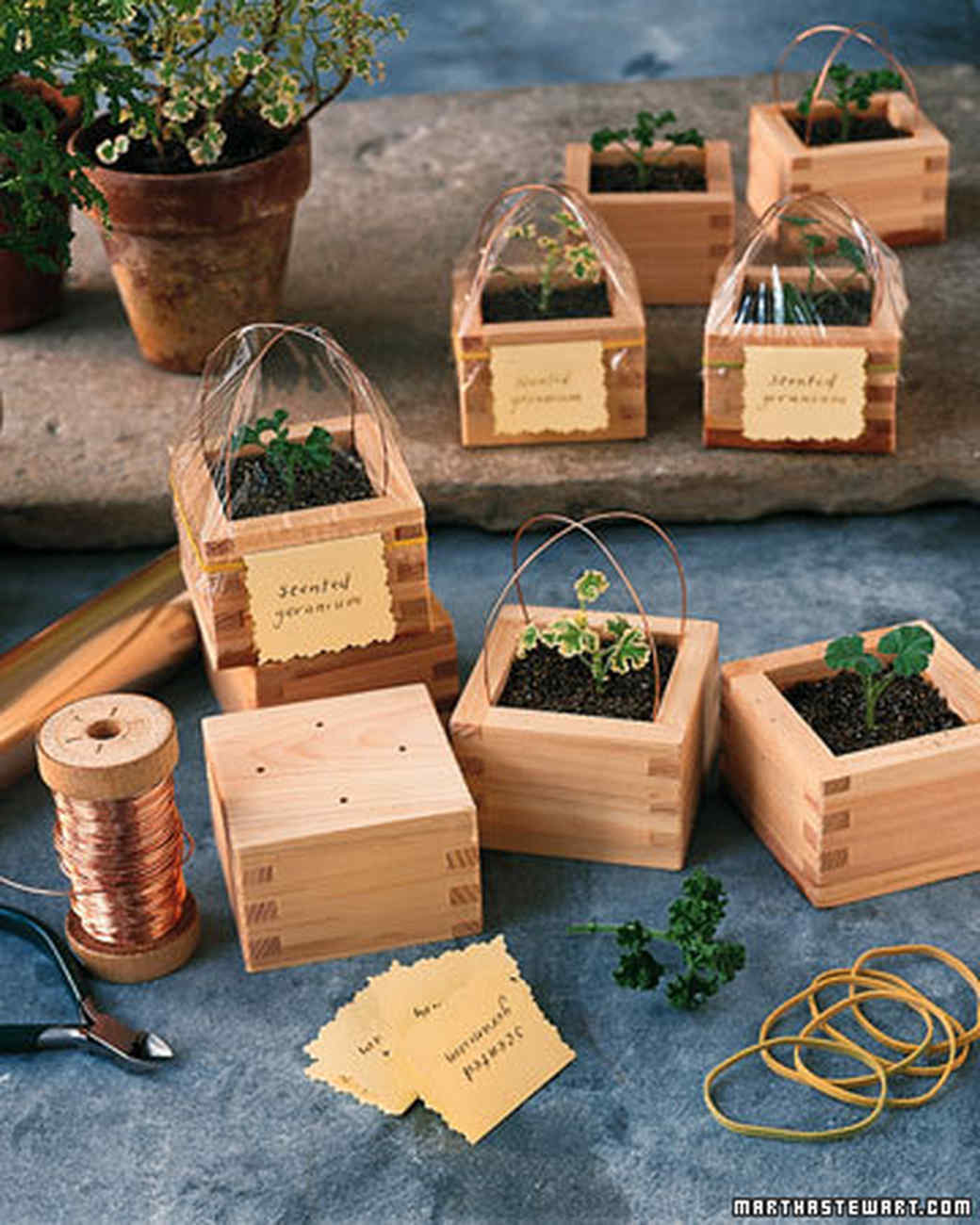 Sake-Box Planters | Martha Stewart on planter wreaths, woven planter baskets, planter bags, planter plants, wall planter baskets, wire baskets,