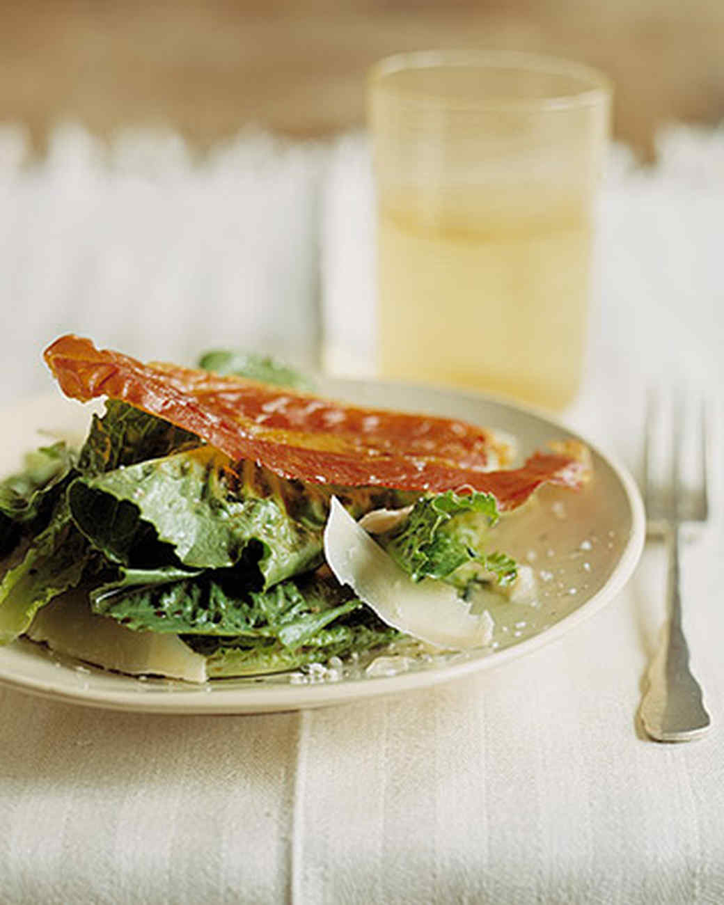 Romaine Salad with Prosciutto Crisps