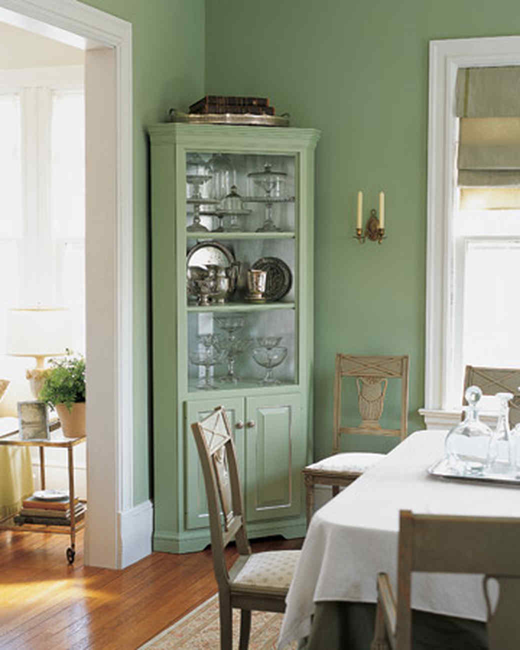Corner Dining Room Cabinet: An Eye-Catching Silver Leaf Cabinet