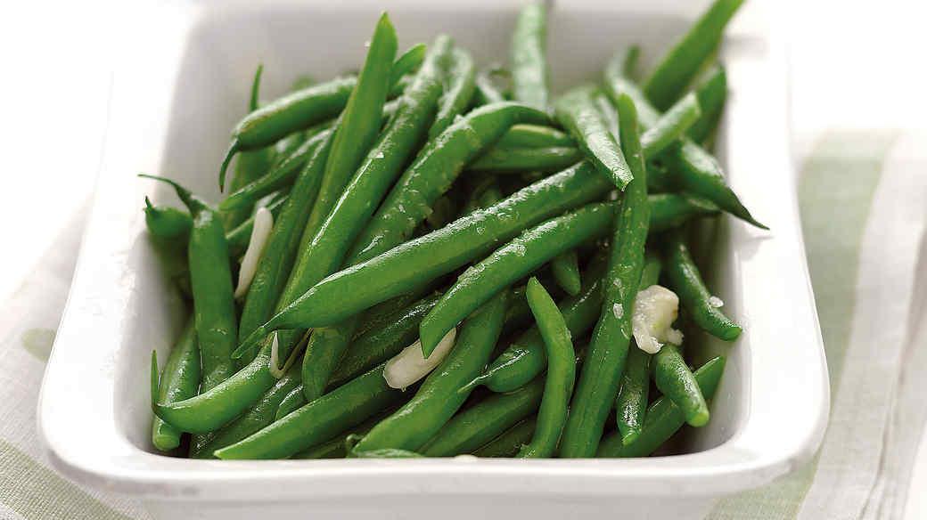 Steamed Green Beans White Dishsteamed