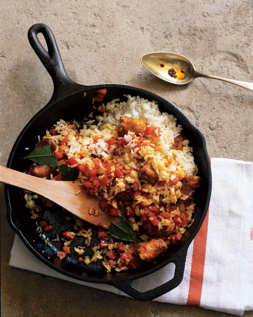 Annatto Rice With Sausage and Tomato