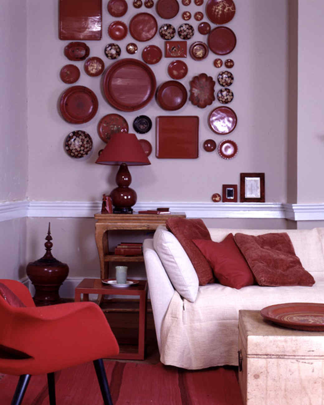 Red Wall Decor For Living Rooms Part - 27: Tone On Tone