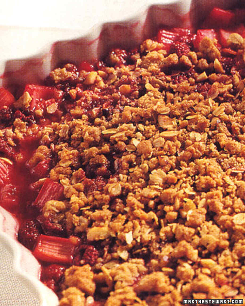 Rhubarb Raspberry Crisp Recipe & Video | Martha Stewart