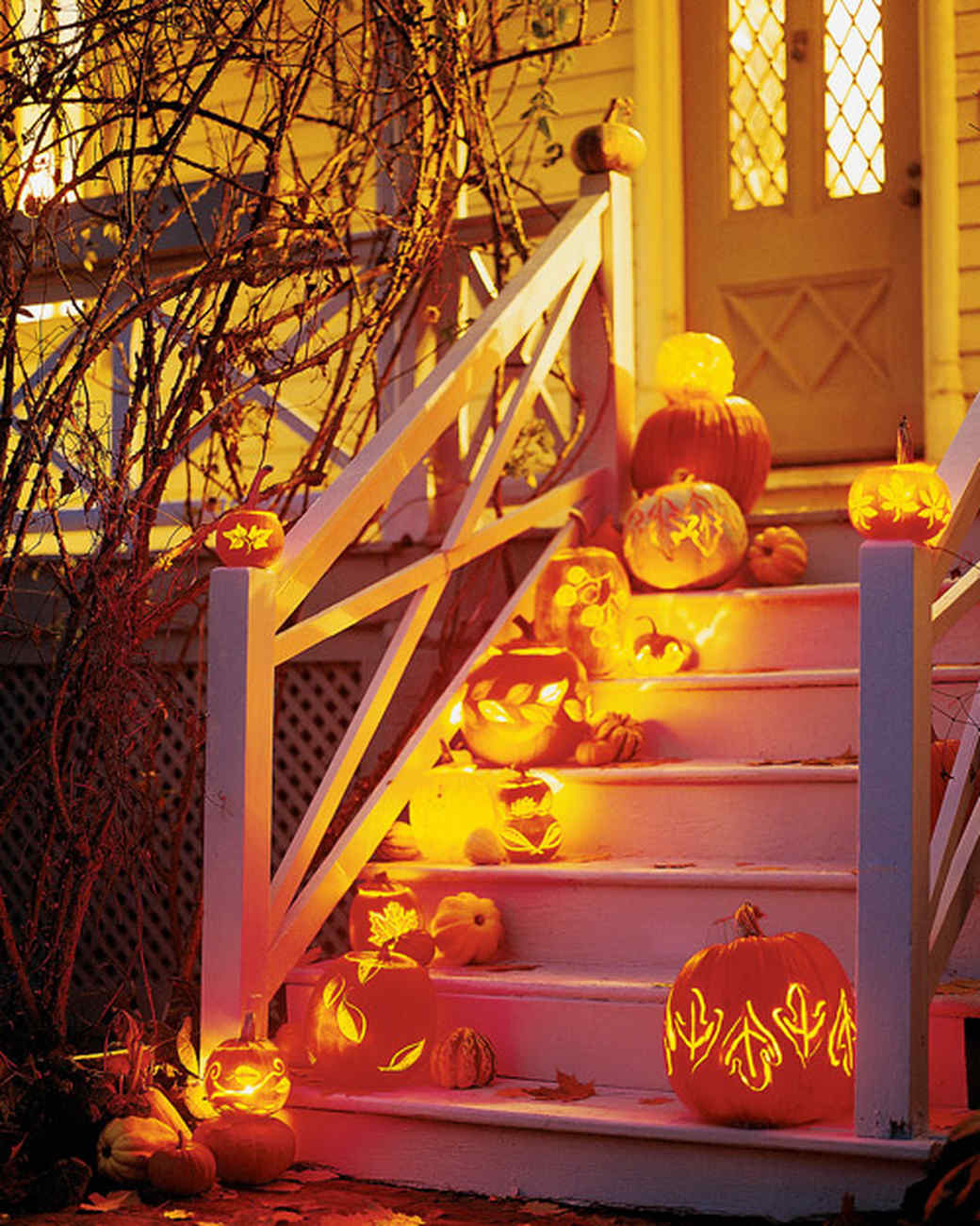 Leaf carved pumpkin lanterns martha stewart