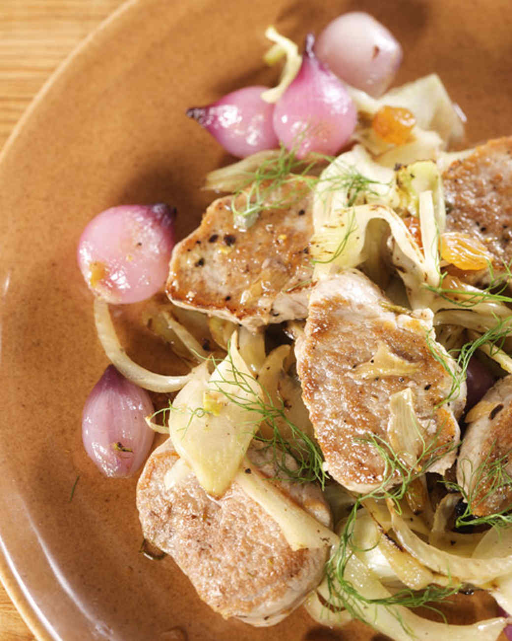 Pork Tenderloin with Sweet and Sour Onions, Golden Raisins, and Capers