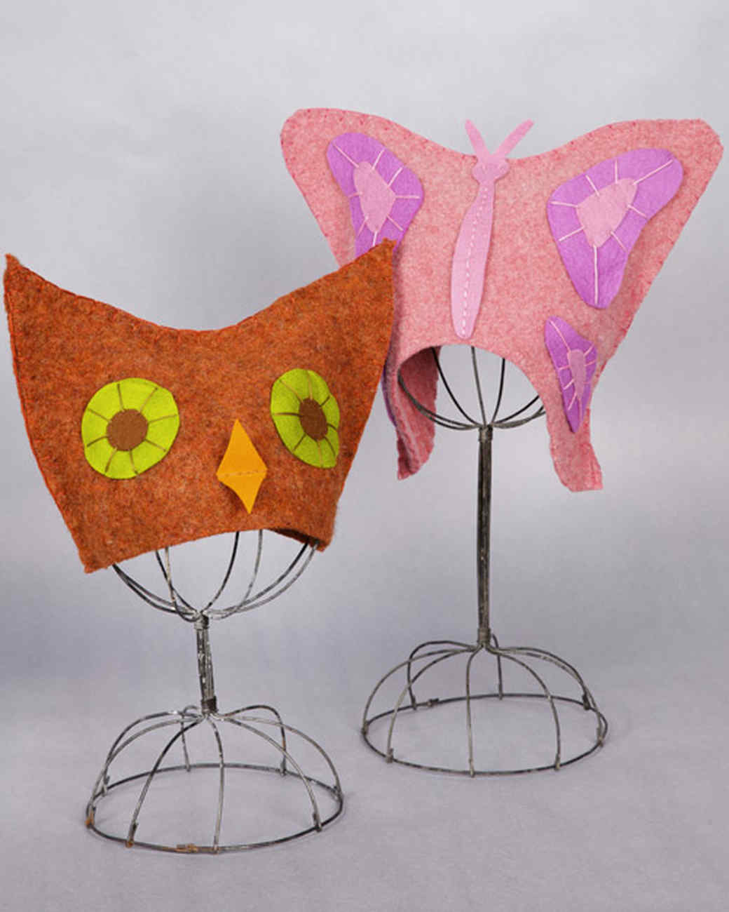 Felted Owl and Butterfly Hats