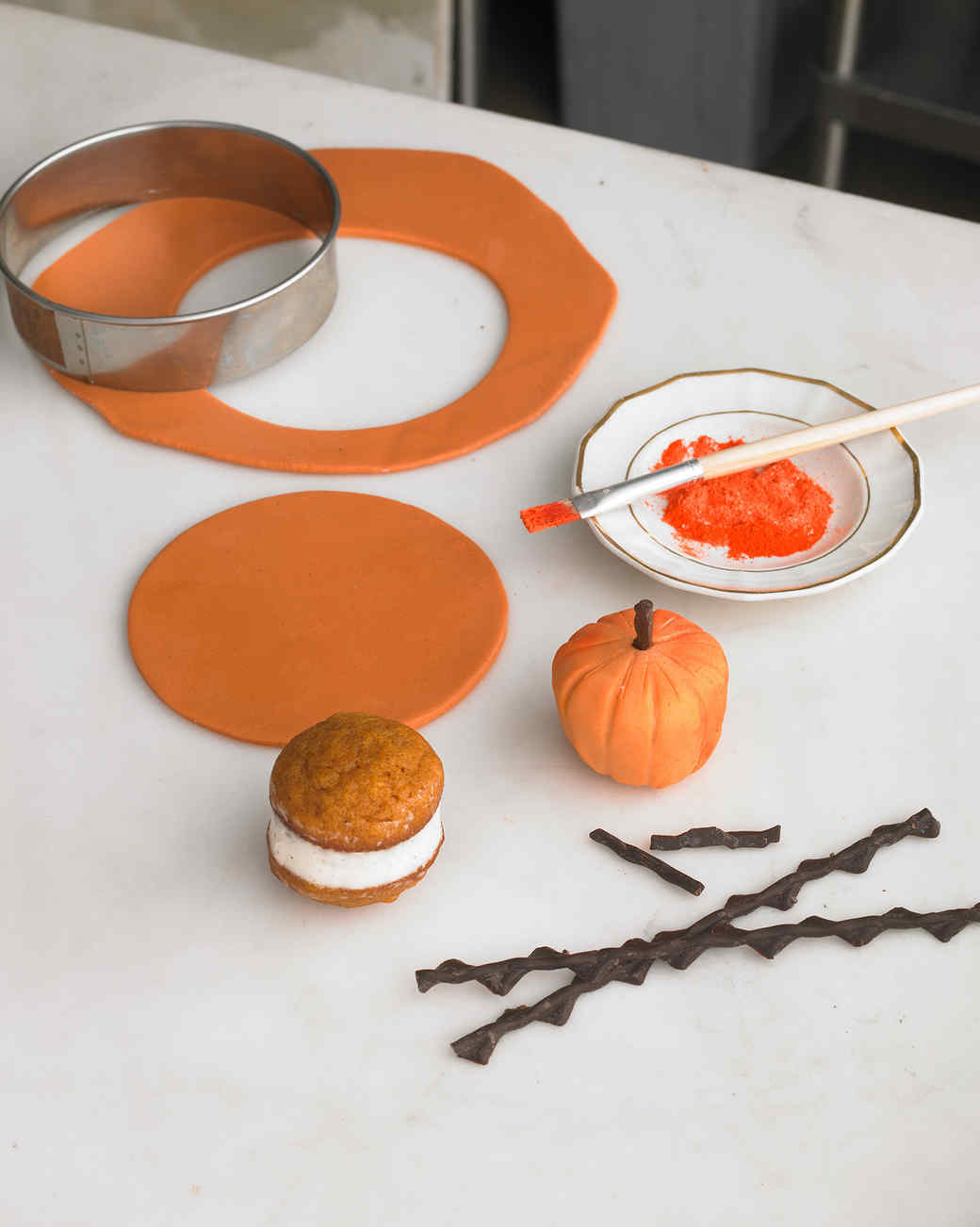 marzipan pumpkin petit fours