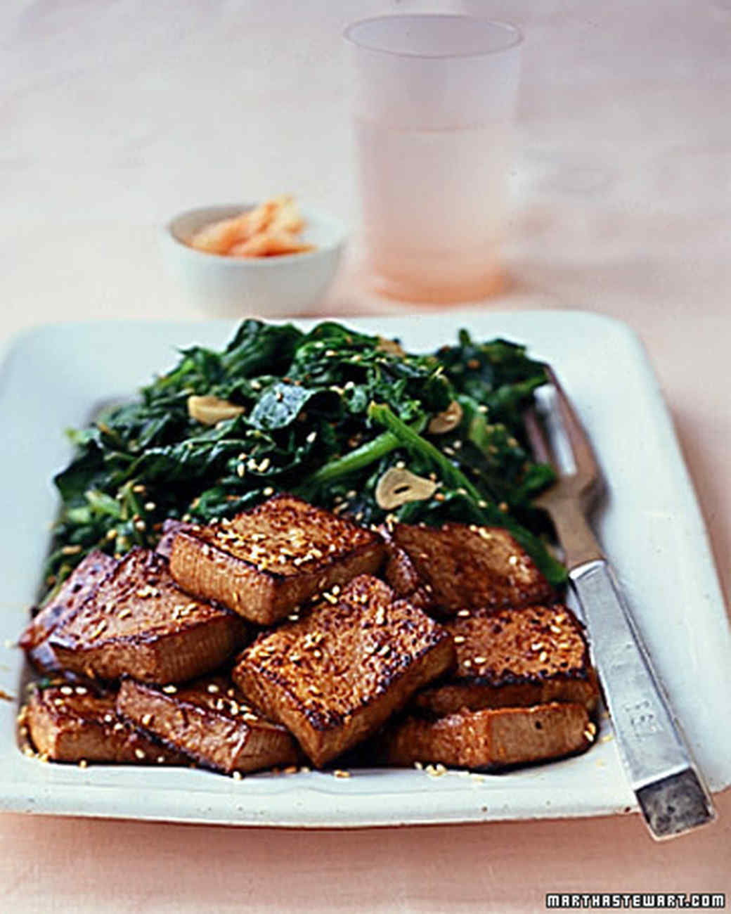 Asian vegetarian recipes martha stewart sauteed tofu with bitter greens forumfinder Images