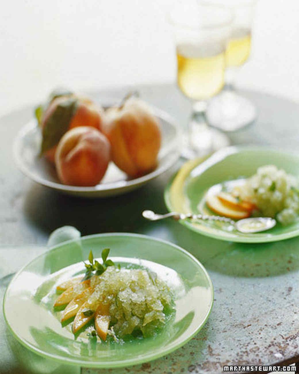 Basil Granita with Peaches