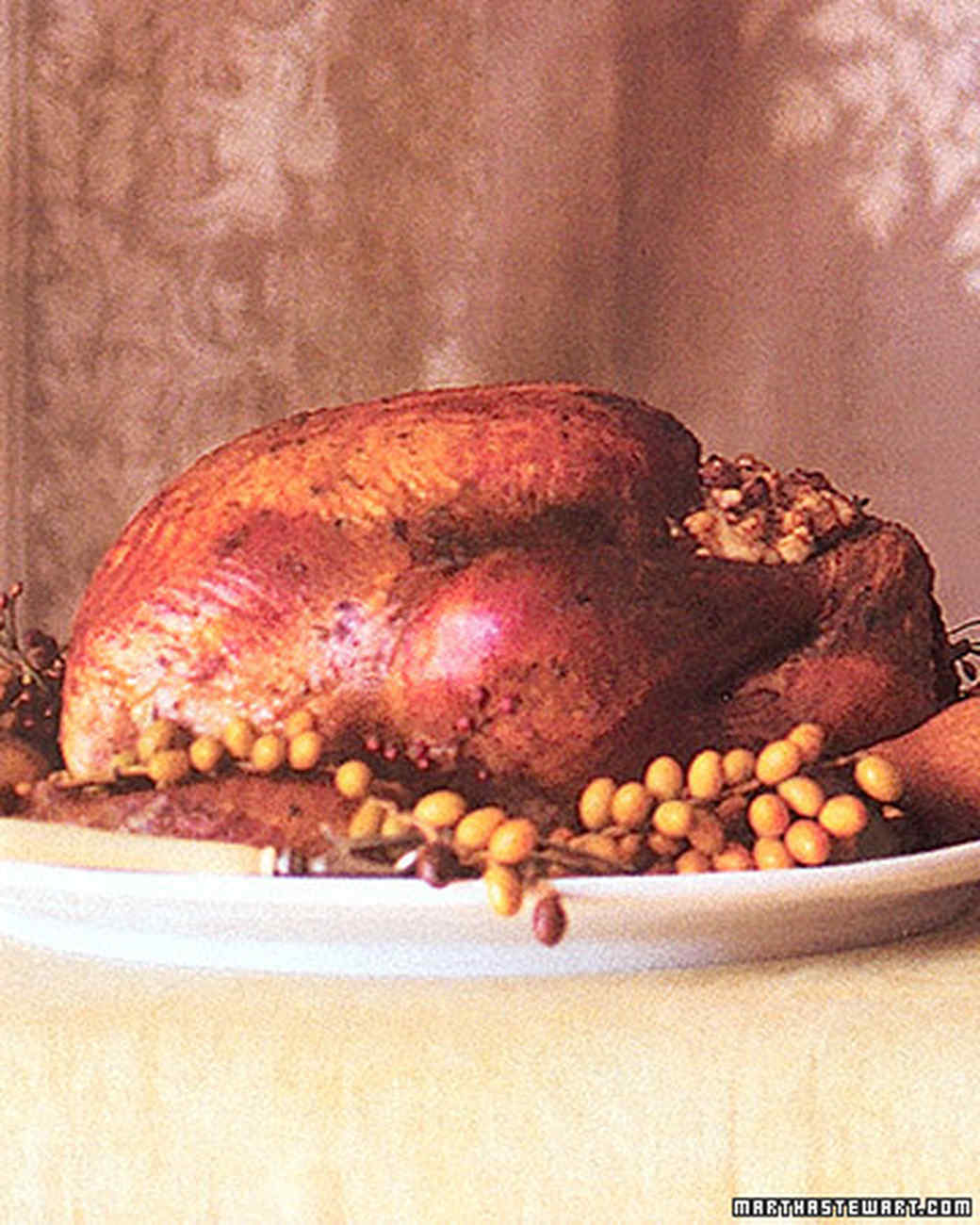 Roasted Free-Range Turkey with Pear and Chestnut Stuffing