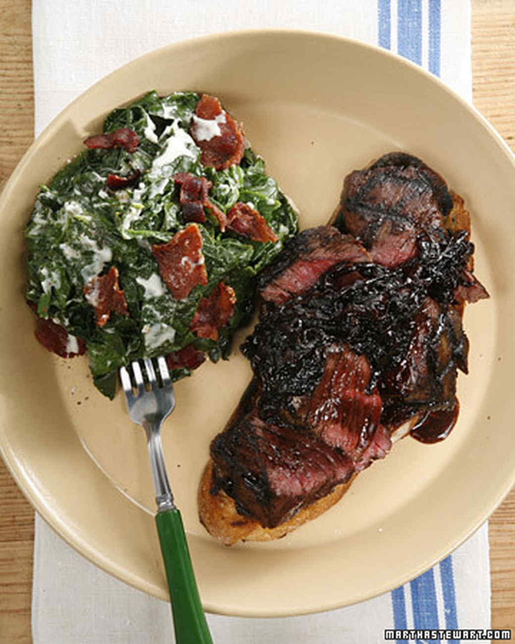 Grilled Hanger Steak on Toasted Country Bread