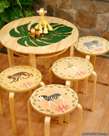 Stenciled Stool Tops