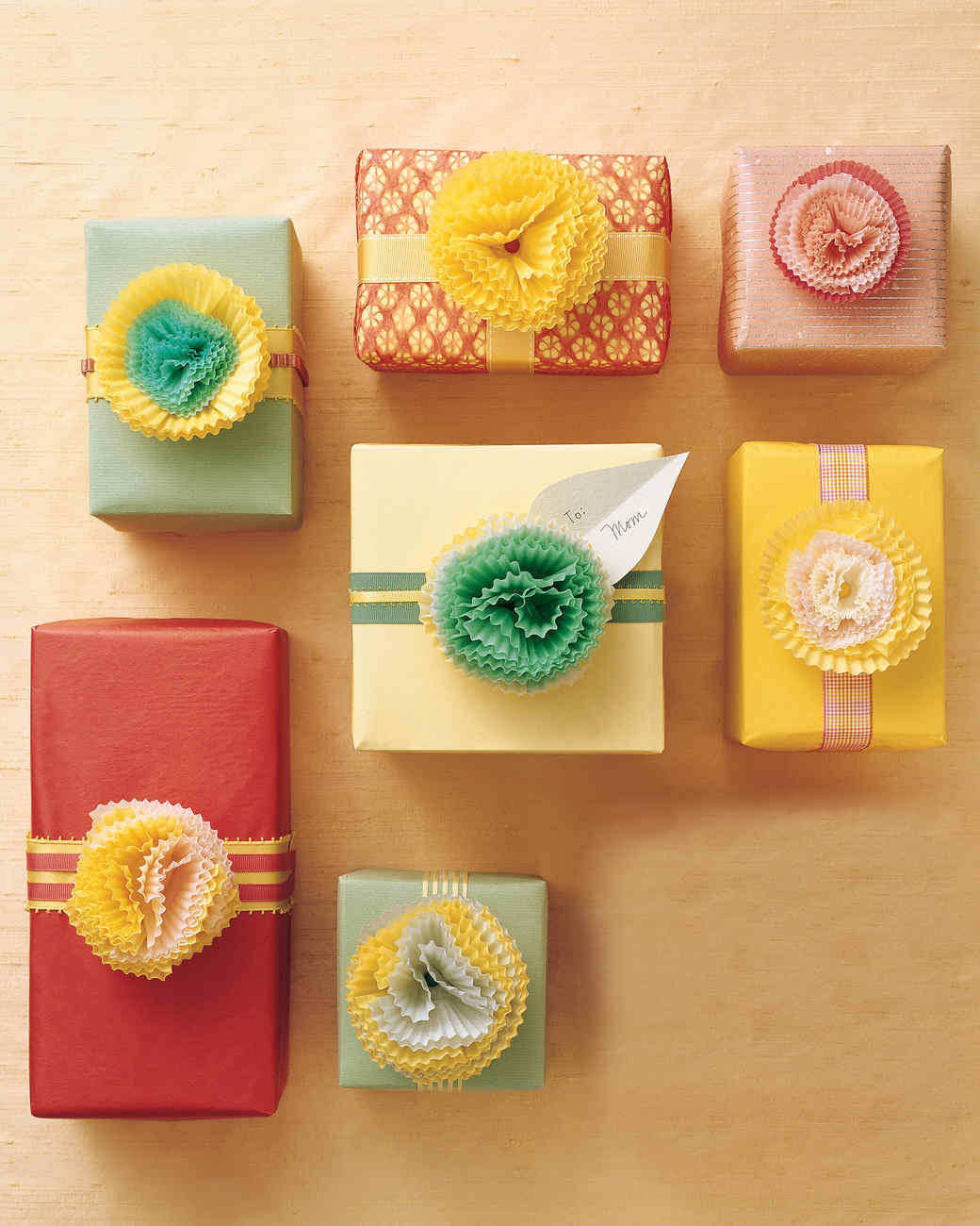 Quick gift wrapping ideas martha stewart cupcake paper carnations negle Image collections