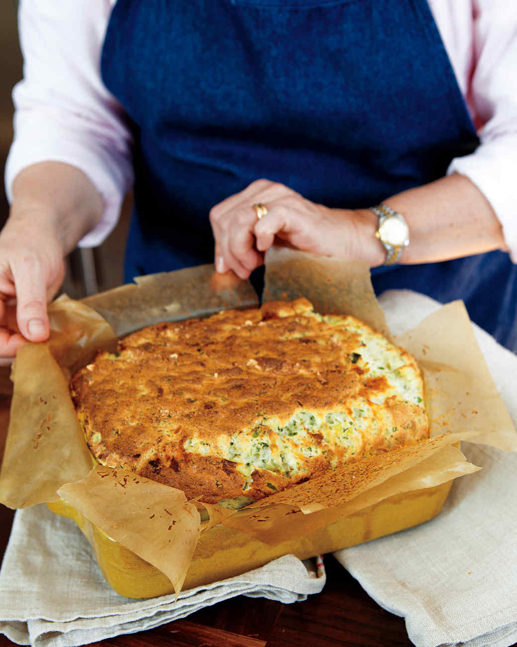 Cheese, Leek, and Herb Souffle Casserole