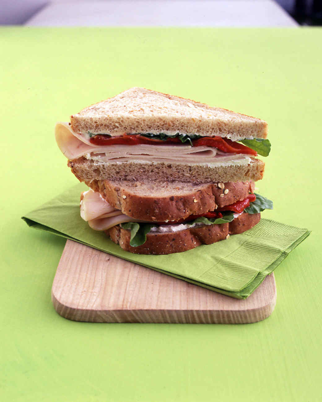 Turkey Sandwich with Ricotta, Red Peppers, and Arugula