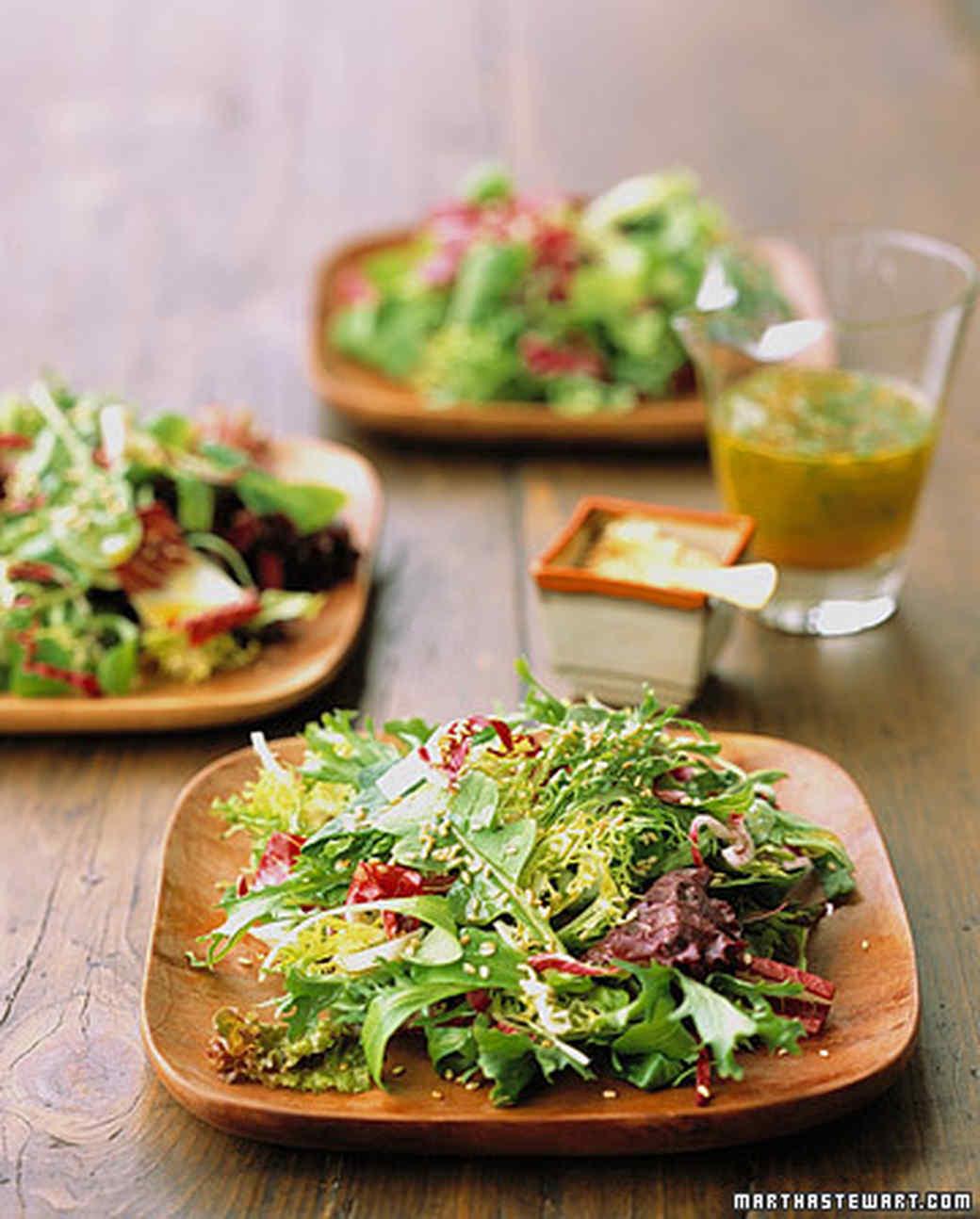 Greens with Orange Vinaigrette and Toasted Sesame Seeds